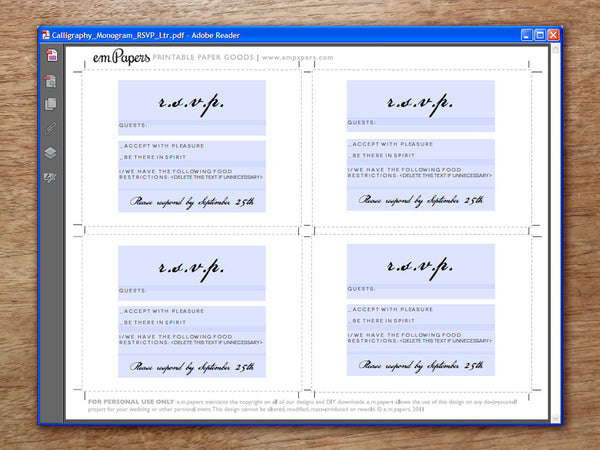 Printable Wedding RSVP Card - Calligraphy Monogram