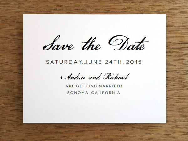 Printable Save the Date - Black Calligraphy