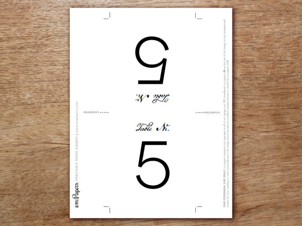 Printable Table Number - Calligraphy Monogram