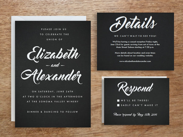 Printable Wedding Invitation Set - Black and White Chalkboard