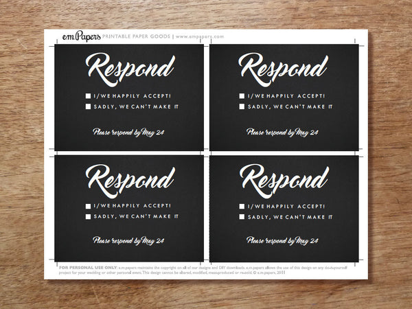 Printable Wedding RSVP Card - Retro Chalkboard
