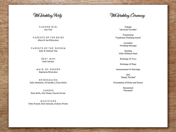 Printable Wedding Program - Retro Chalkboard