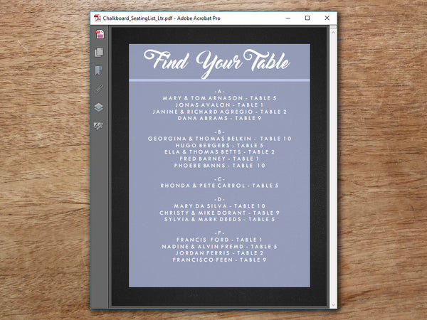 Printable Wedding Seating Sign - Retro Chalkboard