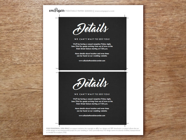 Printable Wedding Information Card - Retro Chalkboard