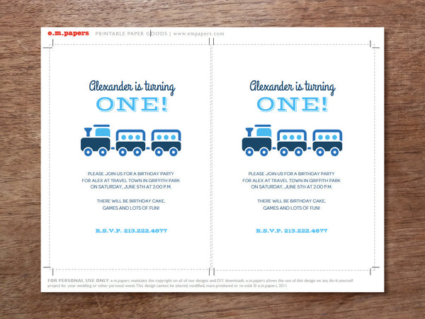 Printable Kids Birthday Party Invitation - Blue Train