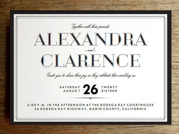 Printable Wedding Invitation Set - Classic Black and White Border
