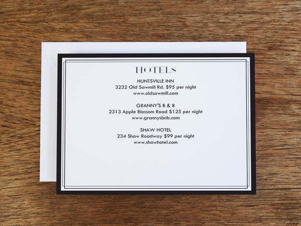 Printable Wedding Information Card - Classic Black and White