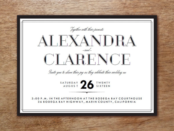 Printable Wedding Invitation - Classic Black and White
