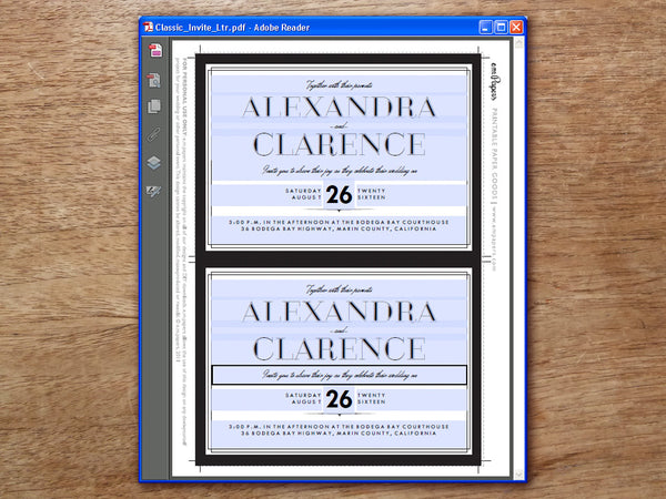 Printable Wedding Invitation Set - Classic Black and White