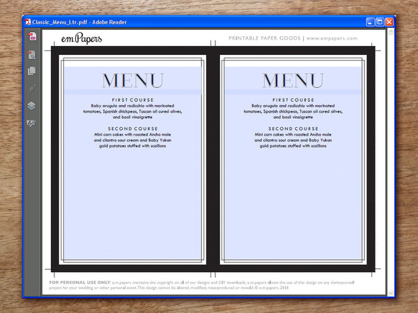 Printable Wedding Menu - Classic Black and White