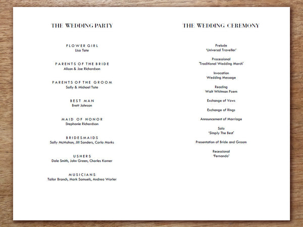 printable wedding program classic black and white e m papers