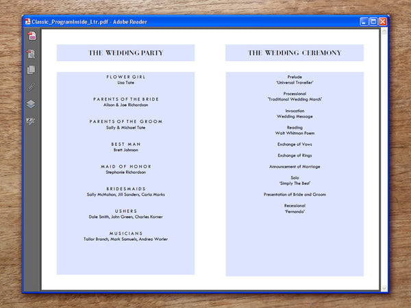 Printable Wedding Program - Classic Black and White