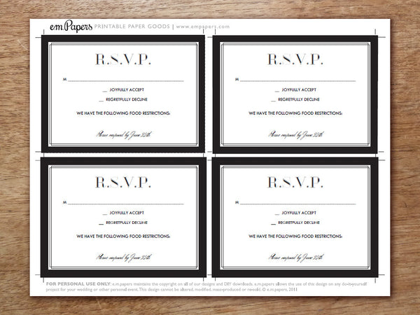Printable Wedding RSVP Card - Classic Black and White