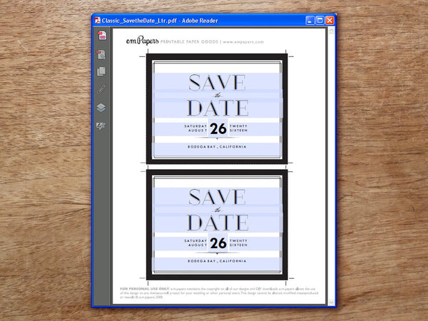 Printable Save the Date - Classic Black and White