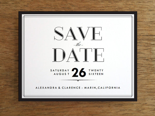 Printable Wedding Save the Date - Classic Black and White