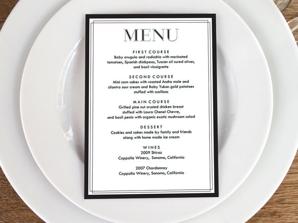 classic black and white printable wedding menu