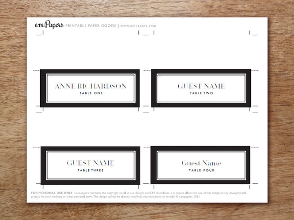 Printable Place Card - Classic Black and White
