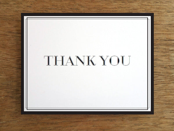 printable thank you card classic black and white e. Black Bedroom Furniture Sets. Home Design Ideas