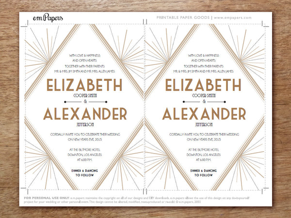 Printable Invitation Set - Deco - Great Gatsby