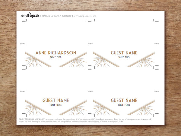 Printable Place Card - Deco
