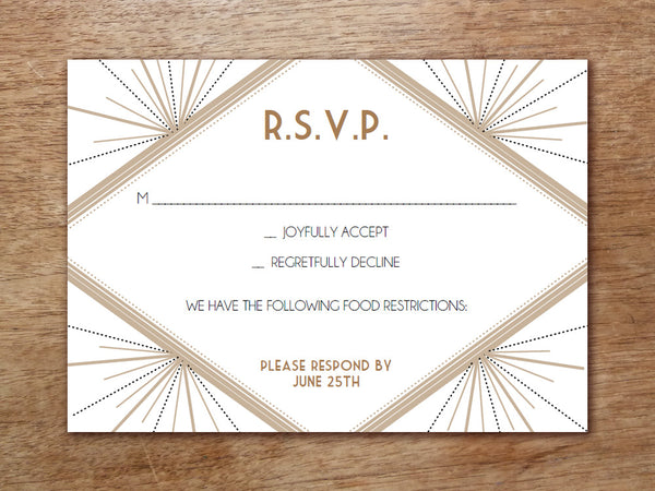 Printable Wedding RSVP - Deco