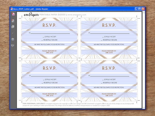 Printable Wedding RSVP Card - Art Deco - Great Gatsby