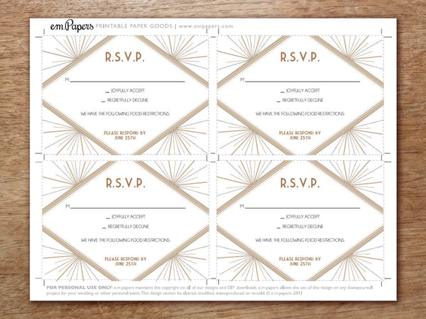 Printable Wedding RSVP Template - Deco
