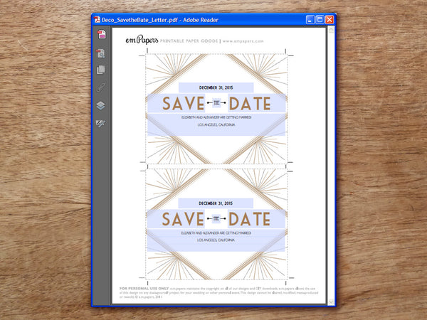 Printable Wedding Save the Date - Art Deco - Great Gatsby
