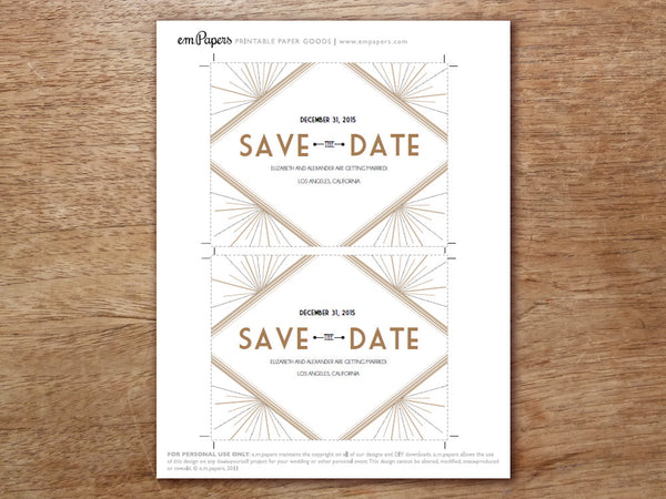 Printable Save the Date Template - Deco