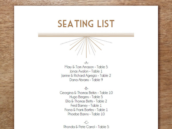Printable Wedding Seating Sign - Deco