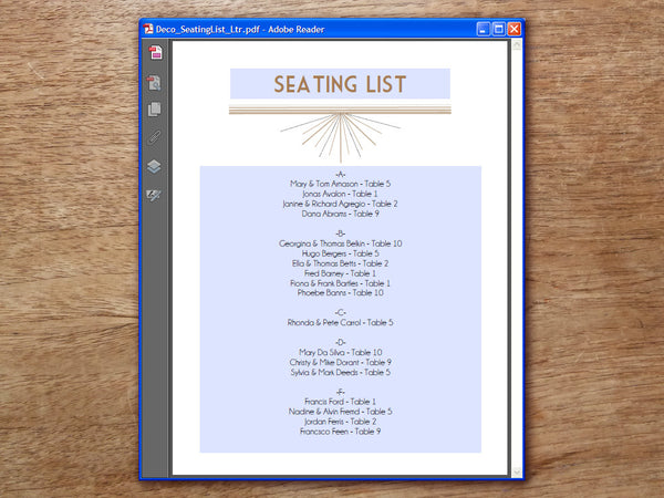 Printable Wedding Seating List - Art Deco - Great Gatsby