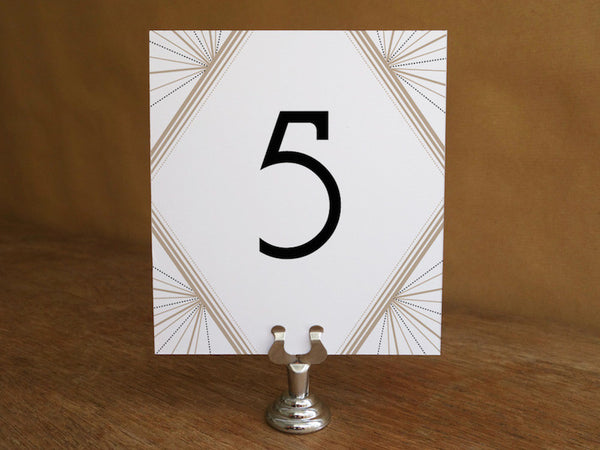 Printable Wedding Table Number - Art Deco - Great Gatsby