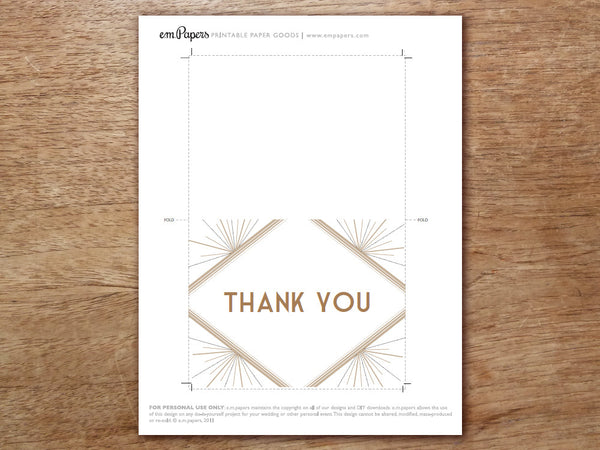 Printable Thank You Card - Deco