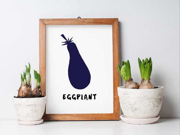 Printable Kitchen Wall Art - Eggplant