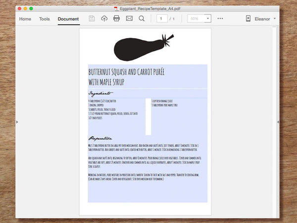 Printable Recipe Template - Eggplant