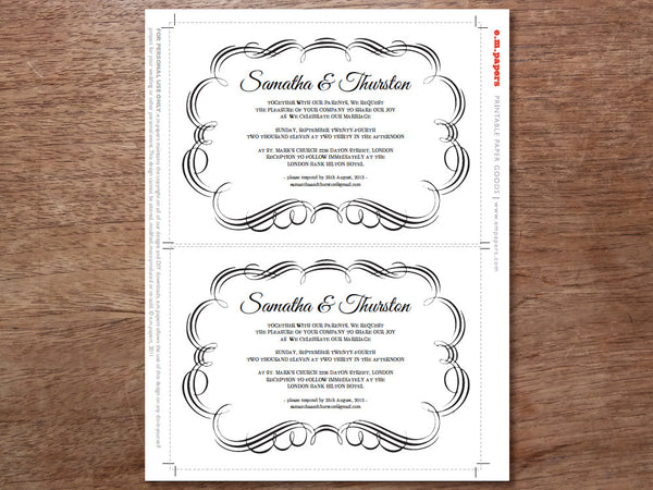Printable Wedding Invitation Template - Flourish