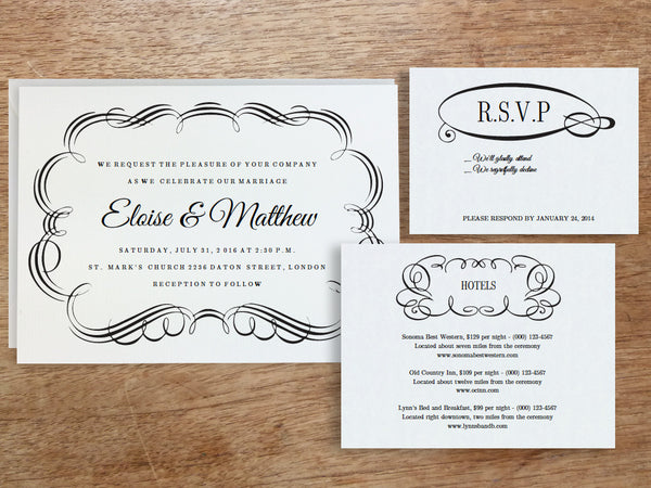 Printable Wedding Invitation Set - Flourish