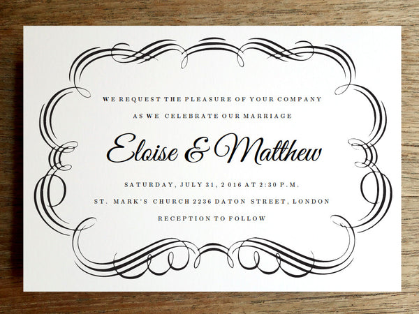 Printable Wedding Invitation - Flourish