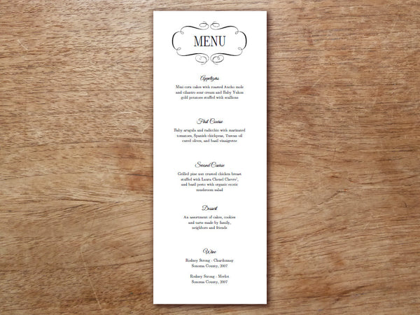 Printable Menu - Flourish