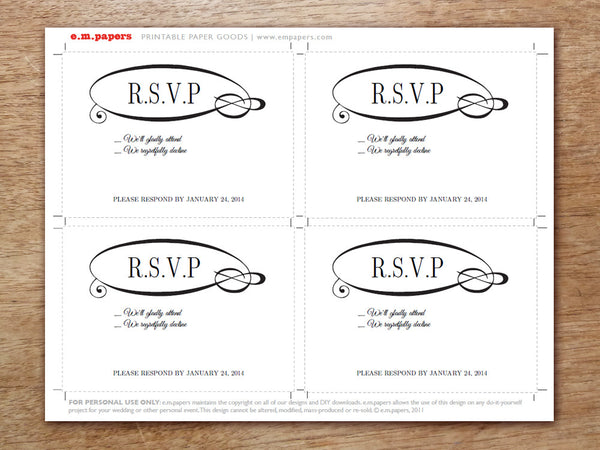 Printable Wedding RSVP Card - Flourish