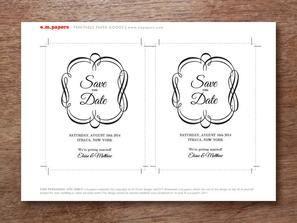 printable save the date template - black and white flourish border