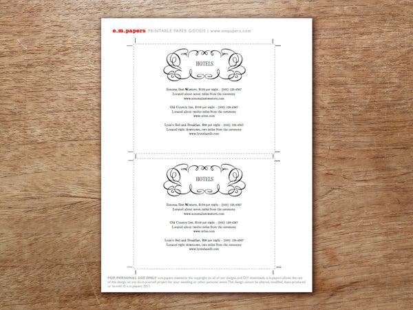 Printable Wedding Information Card - Flourish