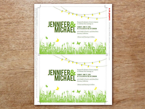 Printable Wedding Invitation - Garden Party