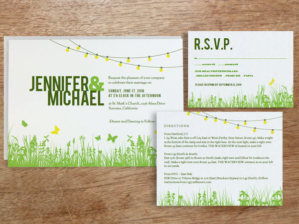 Printable Wedding Invitation Set - Garden Party