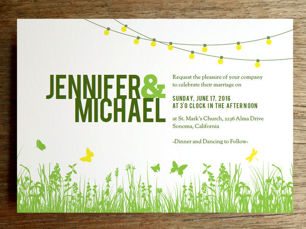 Printable Wedding Invitation - Garden Party - String Lights