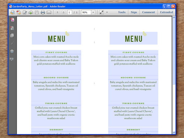 Printable Wedding Menu - Garden Party