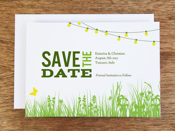 String light garden party printable save the date