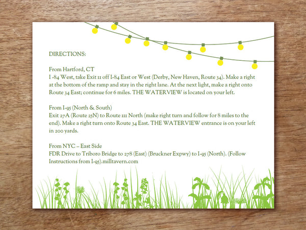 Printable Wedding Information Card - Garden Party