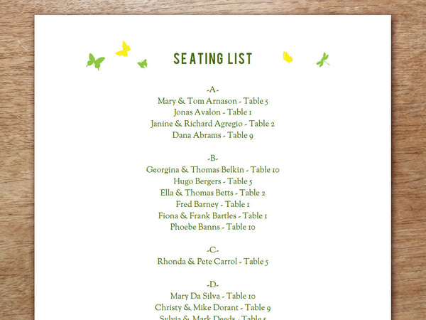 Printable Wedding Seating Sign - Garden Party