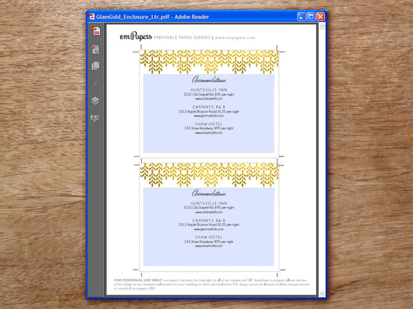 Printable Wedding Information Card - Glamorous Gold